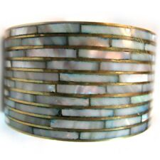 VINTAGE Womens Bangle Bracelet Sea Shell Shells Inlay Genuine Brass Wide Big