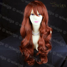 Wiwigs Beautiful Copper Red Long Layered Way Skin Top Ladies Wig