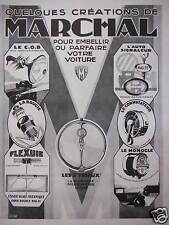 PUBLICITÉ DE PRESSE 1928 CRÉATIONS MARCHAL BOUGIE FLEXUIE MONOCLE TRILUX LE COB