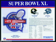 SUPER BOWL 40 ~ STEELERS vs SEAHAWKS Willabee Ward OFFICIAL NFL SB XL PATCH CARD