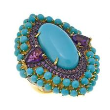 Rarities Blue Turquoise, Amethyst and White Zircon Ring Size 6 HSN $500
