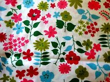 "VINTAGE GARDEN FLOWERS ON WHITE COTTON QUILT FABRIC - 35"" wide"