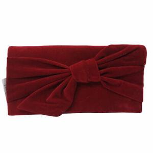 Inc Women's Clutch Bowah Hands Through Velvet Evening Chain Purse, Dark Red