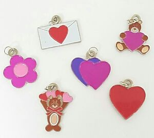 Set of 6 Valentines Day Charms Scrapbooking Embellishment Love Heart Bear Crafts