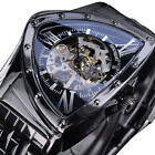 Mens Stainless Steel Automatic Mechanical Watches Skeleton Triangle Wristwatch