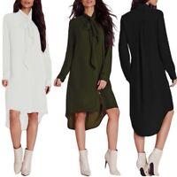 UK Women Plain Bow Lace Up Long Sleeve Blouse Top Boyfriend Mini Shirt Dress New