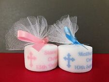 Personalised Christening Baptism Tealight Candle Favours Pink Or Blue Set of 50