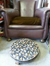 Vintage Elizabeth Bradley Persian embroidery tapestry footstool wood feet