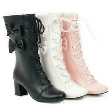 Womens Bowknot Block Heel Lace Up Mary Janes Lolita Round Toe Shoes Boots Pumps