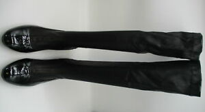 ROBERT CLERGERIE black stretch leather patent leather flat knee high boots sz 10