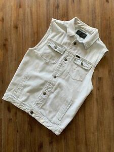 WRANGLER Size S Distressed Denim Acid Wash Light Blue Button Vest FEB63