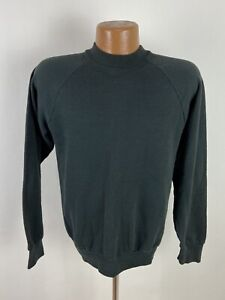 Vintage 90s Plain Black Raglan Sweatshirt Large Minimalist Fruit of the Loom USA