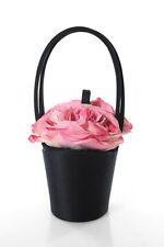 Lulu Guinness  Black Pink Silk Flower Double -Handle Bucket Bag