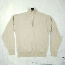 Pronto Uomo Men's Sweaters Size M Long Sleeve Half Zip Beige Solid Cotton Men's