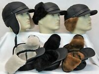 Real Sheepskin Shearling Leather Bomber Trapper Ushanka Elmer Fudd Fur Hat M-3XL