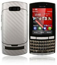 Skinomi Carbon Fiber Silver Skin Cover+Clear Screen Protector for Nokia Asha 303