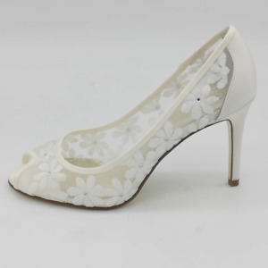 Adrianna Papell Womens Frances Pump Stiletto Heels Shoes Ivory Floral 8.5 W New