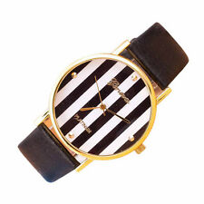 Deluxe Popular Stripes Watch PU Leatheroid Women Analog Quartz Wrist Watches