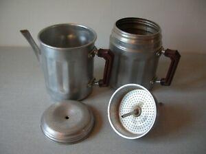 Ancienne cafetière Kafexpresso et 4 éléments en alu Made in France de 27,3 cm