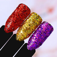 Holographisch Nagel Glitzer Sequins Pulver Hexagon Streifen Flakies BORN PRETTY