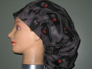 Surgical Scrub Hats/Caps Halloween Black Coffins with Red Rose & bats