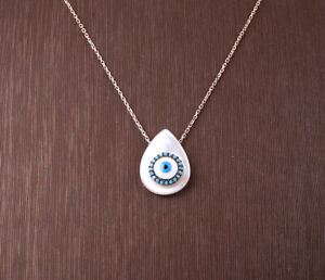 EVIL EYE TURQUOISE ROSE GOLD COLORED OVER STERLING SILVER NECKLACE #32399