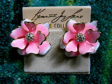 Kenneth Jay Lane Gold Pink and White Crystal Flower Pierced Earrings