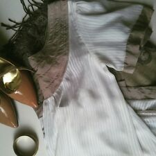 To the Max Women's Sz 4 Sheer Mini Shift Dress White & Tan A-Line Tunic