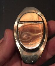 ANTIQUE COWRIE SEA SHELL SILVER MOUNTED SNUFF BOX