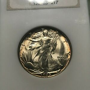 1945-S WALKING LIBERTY HALF DOLLAR. NGC MS63