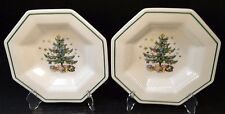 "TWO Nikko Christmastime Soup Bowls 8 1/4"" Octagonal Christmas Tree 2 Crazing"