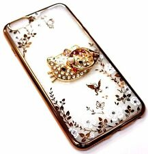 for iPhone 6/6S PLUS Slim Gold Trim Kitty Diamond Bling Phone Ring Silicone Case
