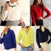 Fashion New Women's Lady Loose Long Sleeve Chiffon Casual Blouse Shirt Tops EC