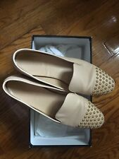 J CREW DARBY STUDDED GOLD BEIGE LOAFERS LEATHER FLATS SHOES 8M W/ BOX