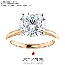 Ring 14K Rose Gold Starr Moissanite 3.00 Carat D Color Vvs1 Moissanite