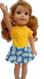 """Daisy Dress fits Wellie Wisher 14.5"""" Doll Clothes Yellow with Blue/White Daisies"""