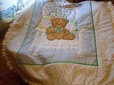 Boy Girl Baby Quilt Bear in White Wicker Chair