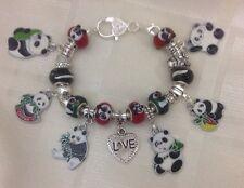* Hecho a Mano Rojo Negro Y Verde Lujoso Grueso Panda Cuenta Dije Pulsera De Cristal De Murano
