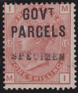 GB 1883 1/- GOVT PARCELS overprinted SPECIMEN fresh mint....................3575