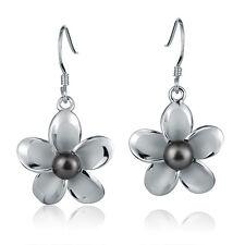 20mm Plumeria Black pearl Hook Earring Pearl Earring