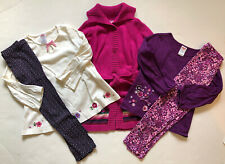 EUC Gymboree Girl 5 PC Lot Purple Pink Blue Floral Shirt Leggings Sweater 4 4T