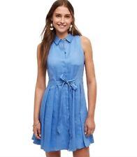 08b5c1ab3d Anthropologie HD In Paris Womens Dress Printemps Linen Shirt Dress Blue  Size 6