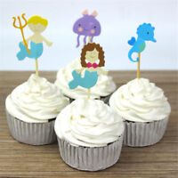 24pcs ocean style hippocampus mermaid cupcake toppers decor party supplies EB