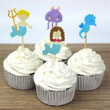 24 pezzi in stile oceano hippocampus sirena cupcake toppers arredamento per fest