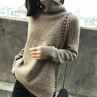 Women's Winter Cashmere Sweater Turtleneck Knitted Pullovers Warm Jumper Sweater