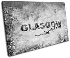Glasgow Scotland City Typography SINGLE CANVAS WALL ART Picture Print VA