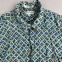 Pierre Cardin Button Up Shirt Mens XL Blue Geometric Short Sleeve