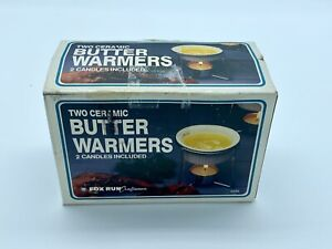 Fox Run Set of 2 Ceramic Butter Warmers With Stainless Steel Stands & Tealights