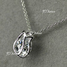 18K GF WHITE GOLD CRYSTAL TULIP FLOWER PENDANT NECKLACE SMALL