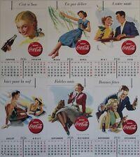 """""""COCA-COLA"""" Calendrier 1956 complet rassemblé en affiche par entoilage 103x115cm"""